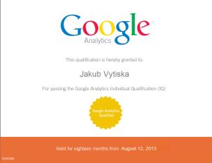 Google Certifikace Ing. Jakub Vytiska