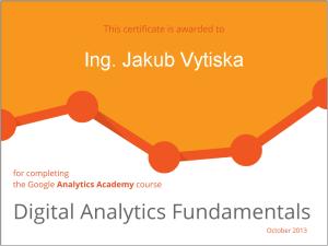 Google Digital Analytics- Ing. Jakub Vytiska